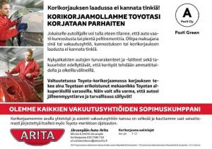 Järvenpään Auto-Arita on kaikkien vakuutusyhtiöiden sopimuskumppani.  Jos vahinko sattuu niin ota yhteyttä 020 7580 710